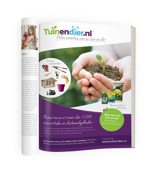 Tuinendier.nl magazine pagina ontwerp advertentie