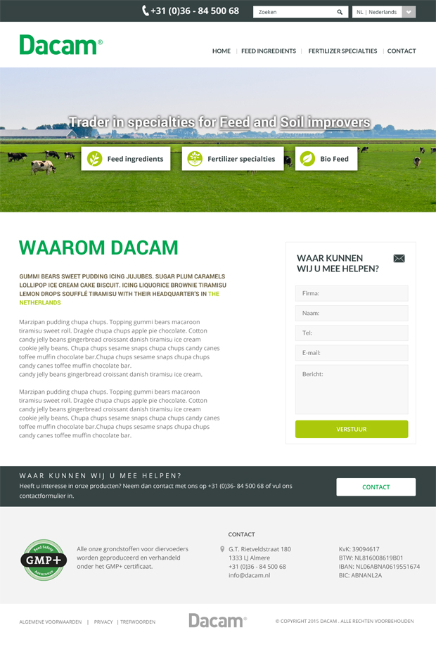 Dacam website ontwerp homepage door Designcy