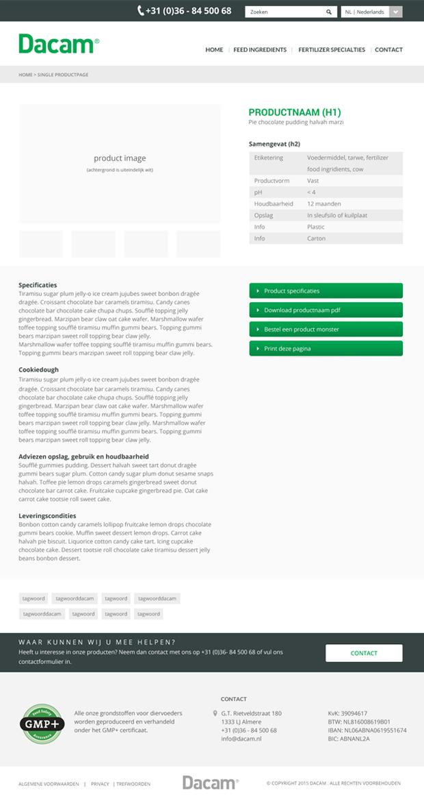 Dacam website ontwerp subpagina